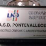 Targa riconoscimento vittoria Campionato Regionale Juniores A2